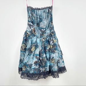 Betsey Johnson vintage dress 4 blue floral corset